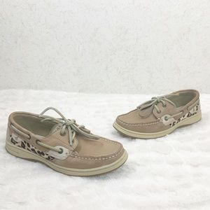 Sperry leopard calf hair leather boat shoes